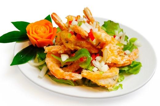 E13 Crevettes au sel et au poivre, riz blanc